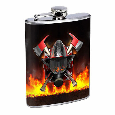 Firefighter D18 Flask 8oz Stainless Steel Hip Drinking Whiskey