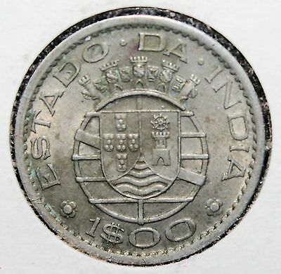 1958 Portuguese India 1 Escudo Copper-Nickel Dec. Coinage Coin Y-37 - 0444