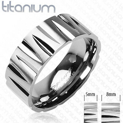 Awesome Mens Silver Solid Titanium Tribal Inspired Faceted Wedding Band Ring