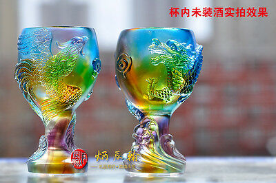 2PCS Chinese Dragon Phoenix Cup Crystal Statue Chinese Colored Glaze LiuLi Glass