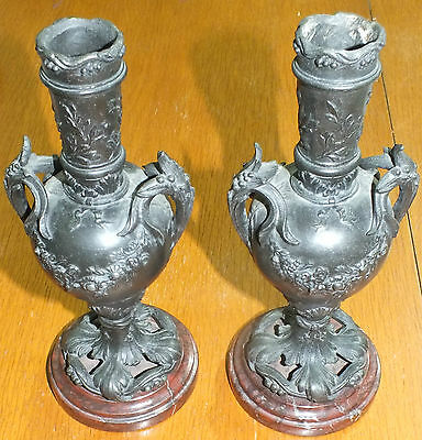 Pair Spelter Vase's On Marbel Base