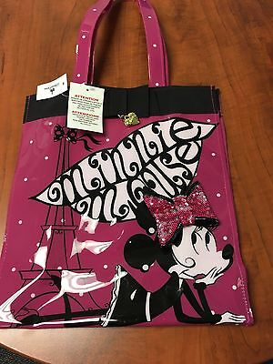 Disney Parks Minnie Mouse Eiffel Tower Lips Pink Polka Dot Tote Purse Bag