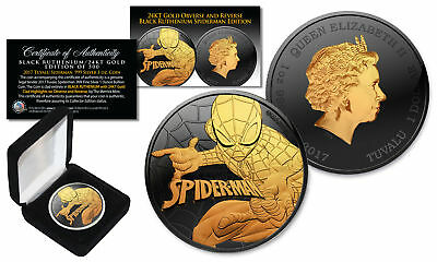 2017 1 oz  Pure Silver Tuvalu SPIDERMAN BU Coin BLACK RUTHENIUM with 24KT Gold
