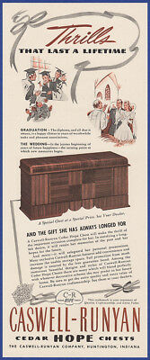 Vintage 1941 CASWELL-RUNYAN Cedar Hope Chest Furniture  Huntington, IN Print Ad