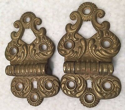 Vintage Victorian Ornate Brass Cabinet Hinges Brass Matching Pair ~ 2 LOT