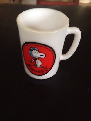 1969 AVON SNOOPY MUG or CUP - Snoopy - White Glass Mug