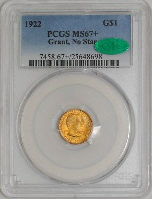 1922 $ Gold Grant Dollar No Star MS67+ PCGS ~ CAC