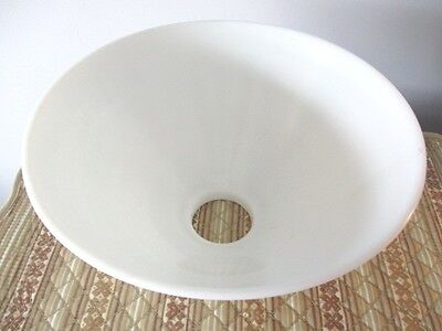 Huge Antique Waffle Weave Milk White Glass Globe for Tole or Antique Floor Lamp