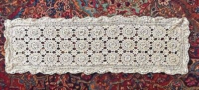 "Vintage Crochet Lace Handmade IRISH ROSE LACE 36"" x 11 1/2"" Table Runner"