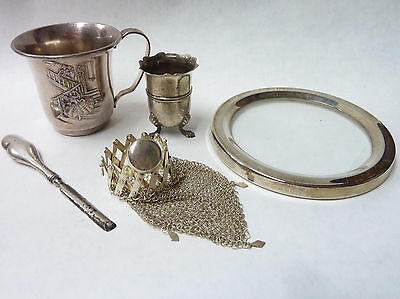 Job Lot Silver Collection Cup Purse Saucer Vase & Nail Tool