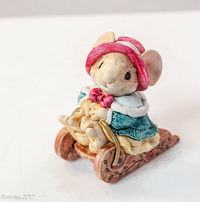 """Little Cheesers """"Jenny on Sleigh"""" 1991 Ganz #05308 Figurine Collector  New"""