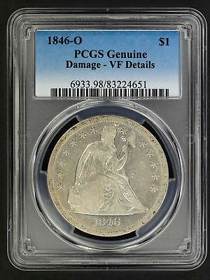 1846-O Seated Liberty Silver Dollar PCGS VF Details Damage -157747
