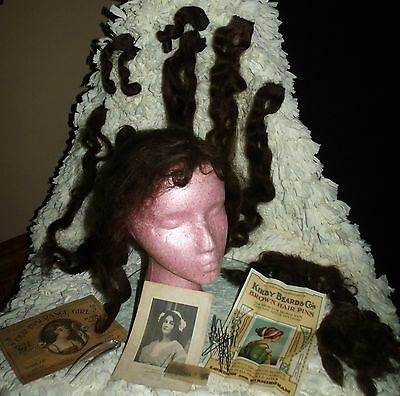RARE Turn of the Century Early 1900s Ladies Human Hair Theater Wig & Extensions
