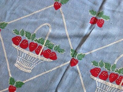 Vintage Blanket Bedspread Summer Beach Camp Cottage Strawberries Blue Red Bates?