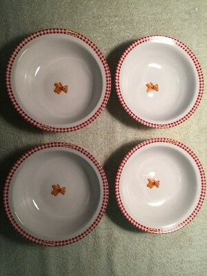 4 Lipton & Gund teddy bear soup bowl, White ceramic bowl with red gingham & bear