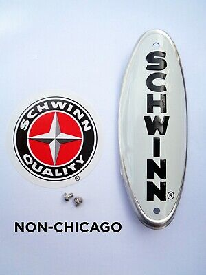 Genuine Schwinn Approved Bicycle Head Badge/NamePlate-NON CHICAGO-63-65 Stingray