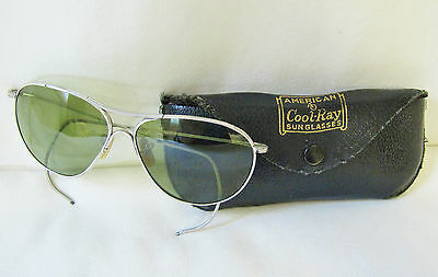 Vntg WWII Era American Cool-Ray Aviator Pilot Sunglasses and Orig Leather Case