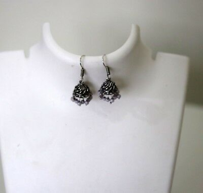 Tribal earrings with grey beading