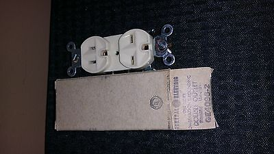 5 Vintage NOS GE 15a 125v Duplex GE4096-2 Combo Grounding Receptacle Ivory