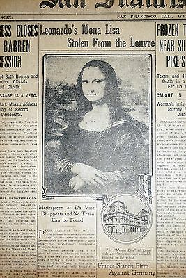 1911 San Francisco Newspaper Front Page - Mona Lisa Stolen From Louvre