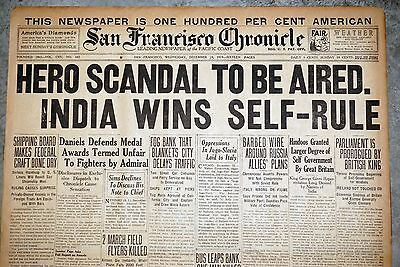 1919 San Francisco Newspaper Front Page - India Wins Self Rule