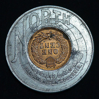 """1901 Buffalo, Ny, Pan-American Expo, """"north"""" Encased Cent, Oh-Cle-Px-100"""