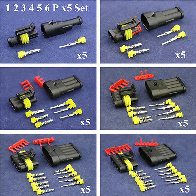 30Set 1/2/3/4/5/6 Pins Waterproof Wire Electrical Cable Car Connector Plug