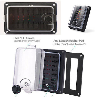New 10-Way LED Indicator Waterproof Protection Cover Blade Fuse Box Holder Block