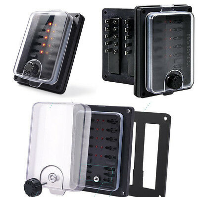 Car Auto 10-Way Waterproof Blade Fuse Box Holder Block with LED Indicator Lights