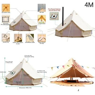 Astounding 4 Season 4M Tent Canvas Tent Bell Tent Outdoor Camping Beige Sibley Tentglamping Download Free Architecture Designs Itiscsunscenecom