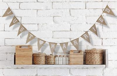 Rustic JUST MARRIED Jute Burlap Bunting Banner 12 drapeaux Party Party Party