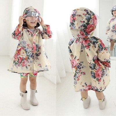 Children's Girls Floral Peony Print Hooded Outwear Poncho Waterproof Raincoat