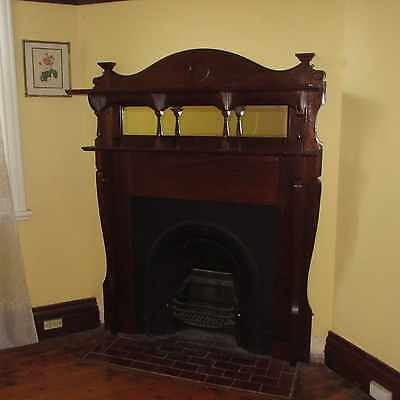 FIREPLACE, ART NOUVEAU TIMBER MANTEL & CAST IRON INNER, removed, 5p