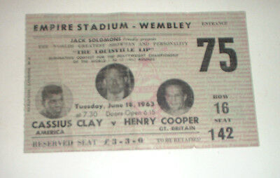 original 1963 CASSIUS CLAY v HENRY COOPER BOXING TICKET WEMBLEY Muhammad Ali