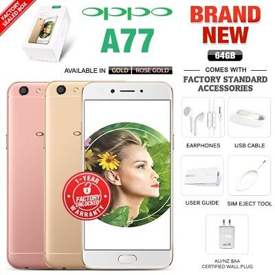 New & Sealed Factory Unlocked OPPO A77 Gold Rose Gold 64GB Android Smartphone