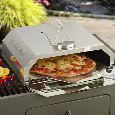 Outdoor Pizza Oven Portable BBQ Stone Base Temperature Gauge Steel Blaze Box New