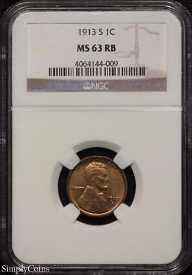 1913-S Lincoln Wheat Penny Cent ~ NGC MS63 RB Red Brown ~ #144-009