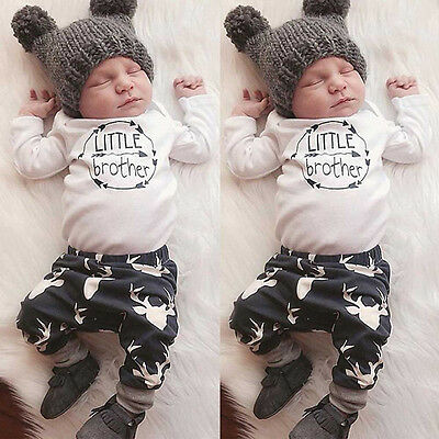 Infant Newborn Baby Boy Romper Tops+Pants Trousers Casual Outfits Clothes Set UK