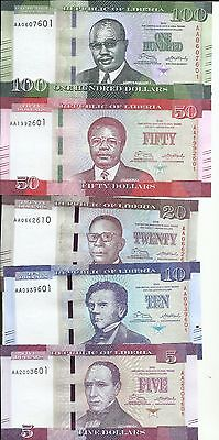LIBERIA SET 5 10 20 50 100 Dollars (5 Pcs Set), 2016 P-New UNC. 5RW 27JUL