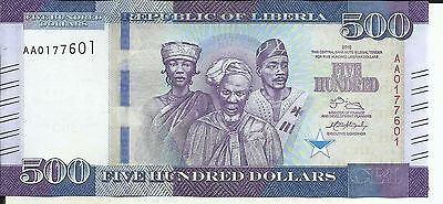 LIBERIA 500 DOLLARS 2016 P-New UNC CONDITION. 5RW 27JUL