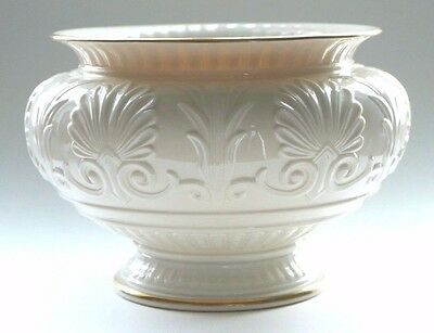 LENOX Garden Bowl Embossed IVORY Gold Trim Footed Planter Centerpiece USA Pot