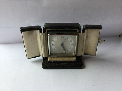 Lovely Deco Miniature Travel Clock Working In Case