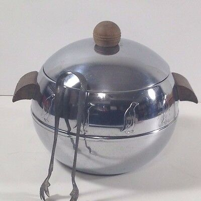 West Bend Chrome Penguin Hot Cold Server Wood Handle Ice Bucket With Claw Tongs