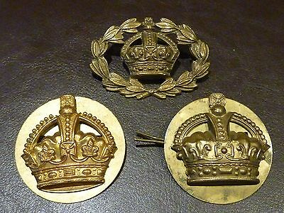 Trio of Warrant Officers Brass Cap / Sleeve Badges  - World War One / Two Period