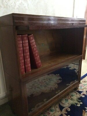 Labelled Globe Wernicke Two Tier Sectional/Modular/Barrister's Bookcase