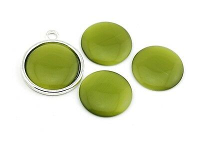 4 Cabochons Cateye Glas in olive, 20 mm