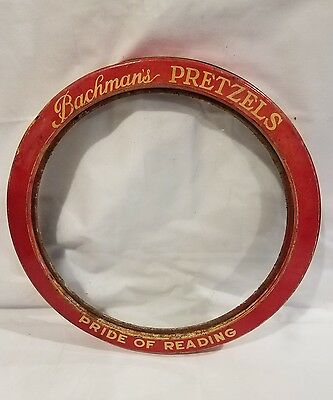 Vintage RARE Bachman's Pretzels Pride Of Reading Glass w/ Tin Lid Advertising