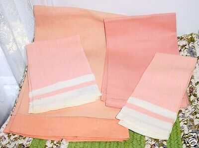lot of 4 ANTIQUE peach CORAL cantelope Huck Linen BATH / HAND show towels