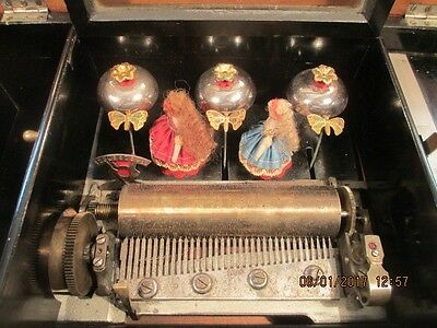 Antique Swiss Music Box With Dancers And Bells
