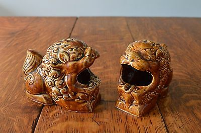Vintage Pair of Chinese Foo Dogs.. Ceramic Temple Dogs